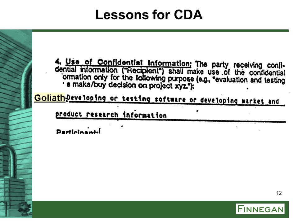Lessons for CDA Goliath