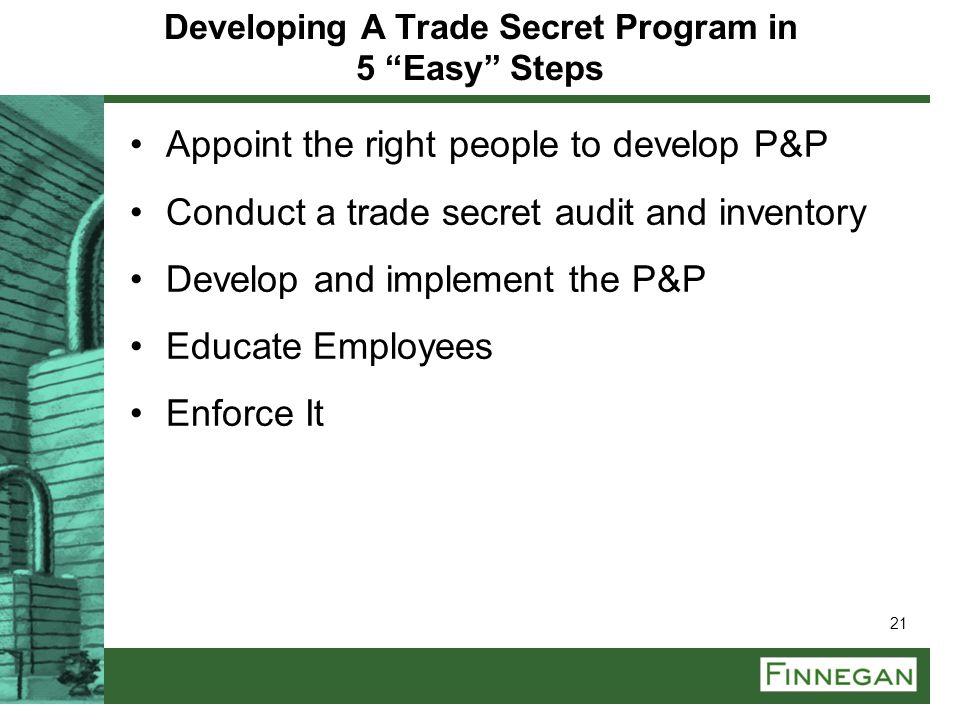 Developing A Trade Secret Program in 5 Easy Steps