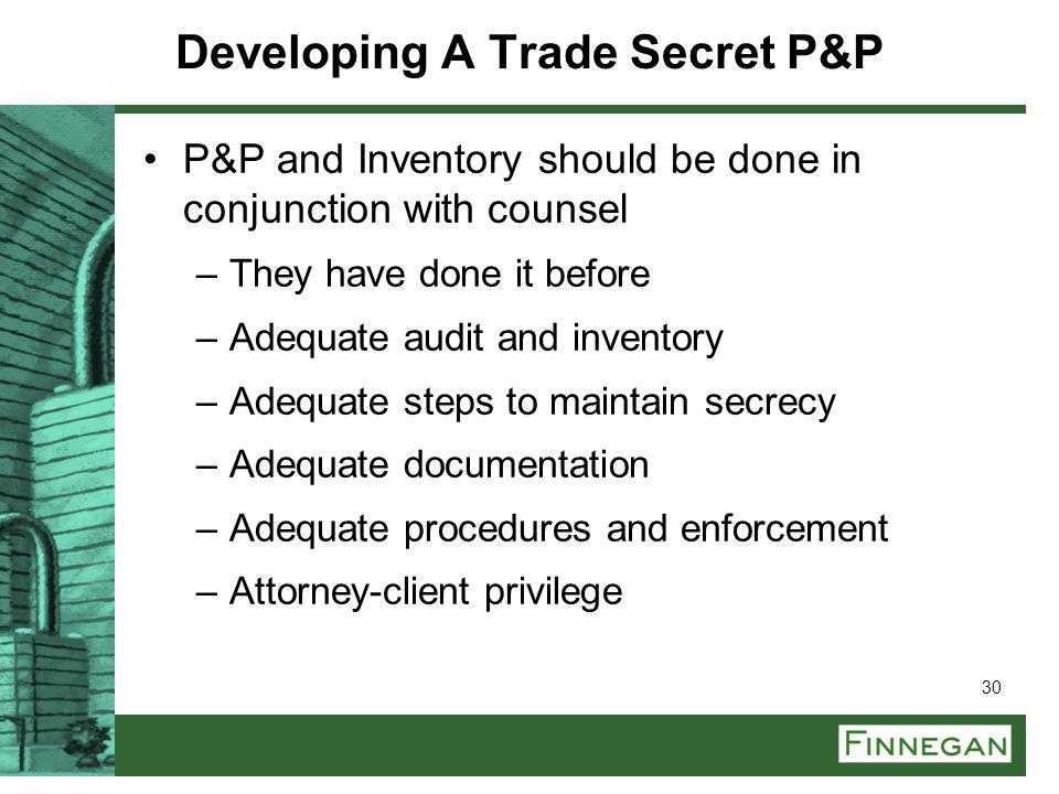 Developing A Trade Secret P&P