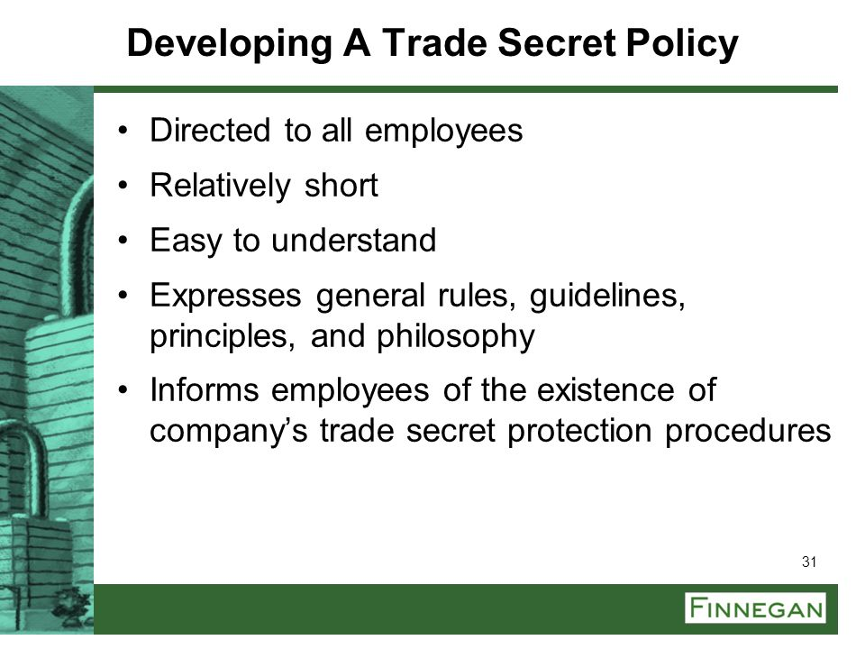 Developing A Trade Secret Policy