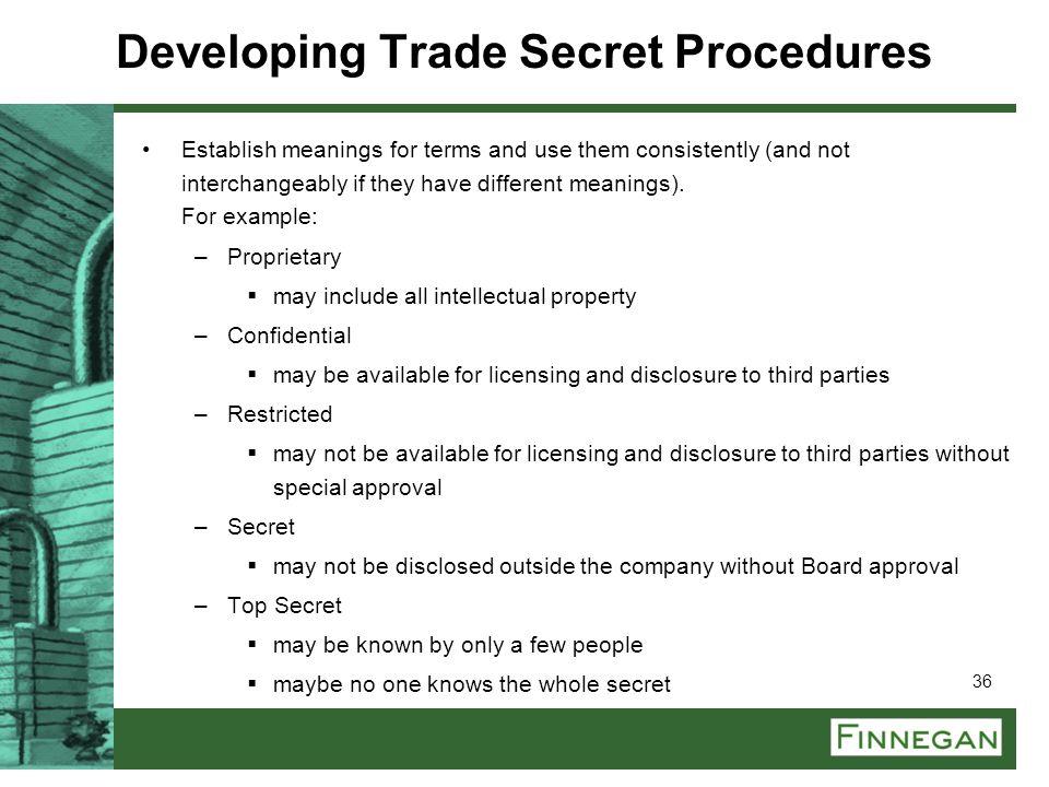 Developing Trade Secret Procedures