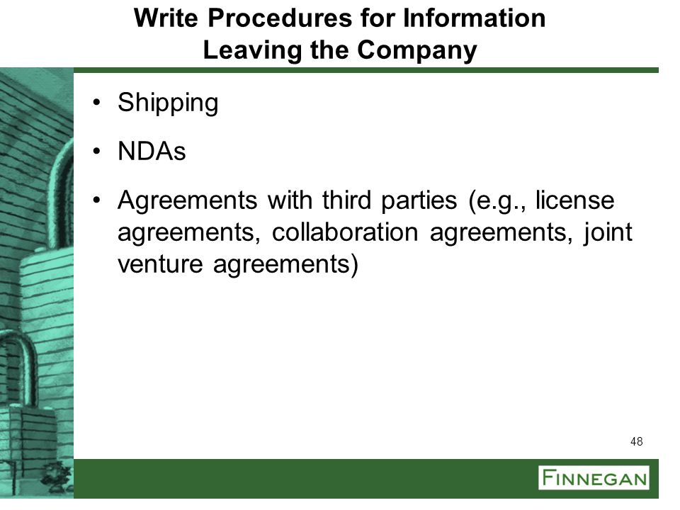 Write Procedures for Information Leaving the Company