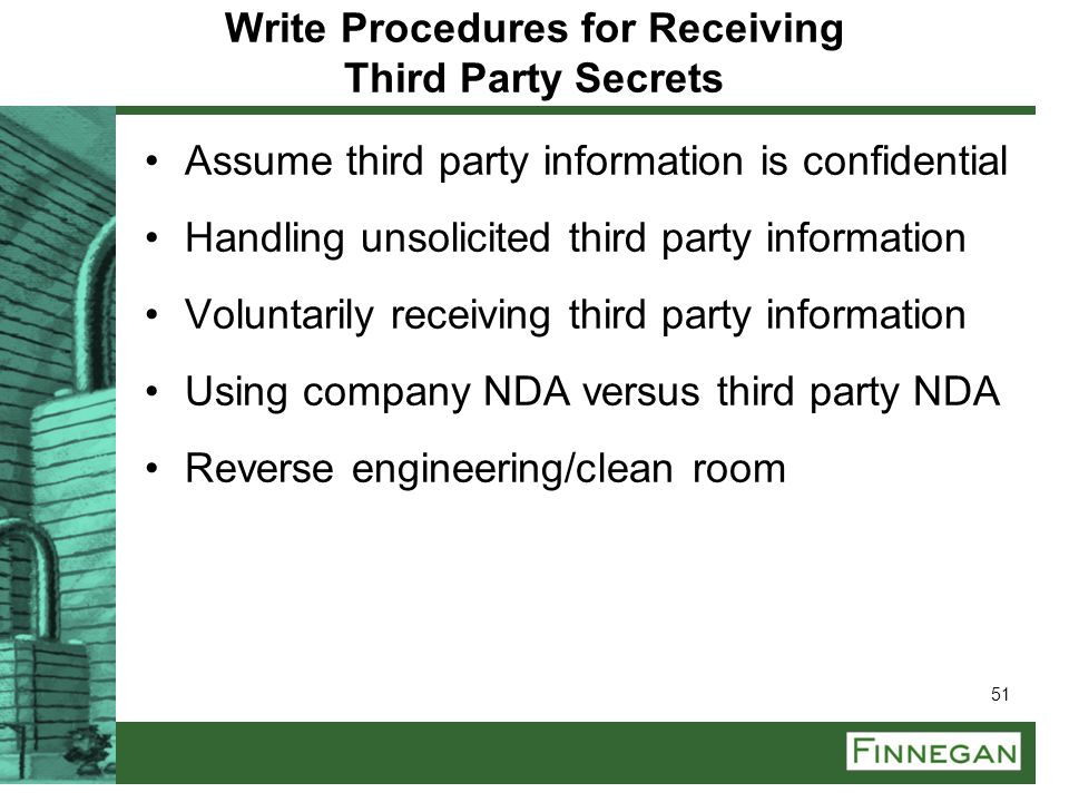 Write Procedures for Receiving Third Party Secrets