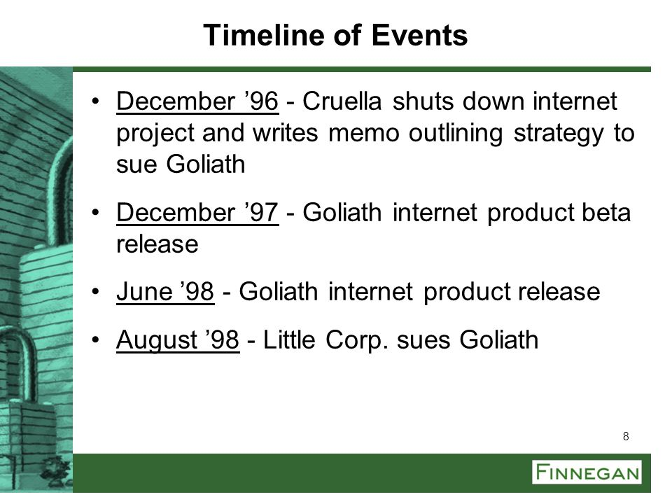 Timeline of Events December '96 - Cruella shuts down internet project and writes memo outlining strategy to sue Goliath.
