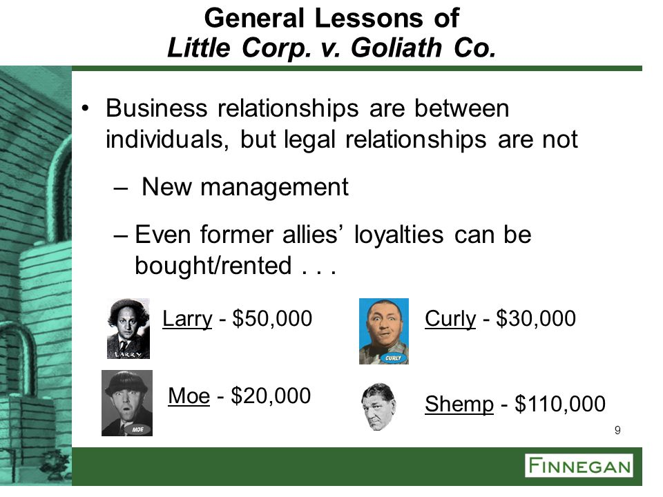 General Lessons of Little Corp. v. Goliath Co.