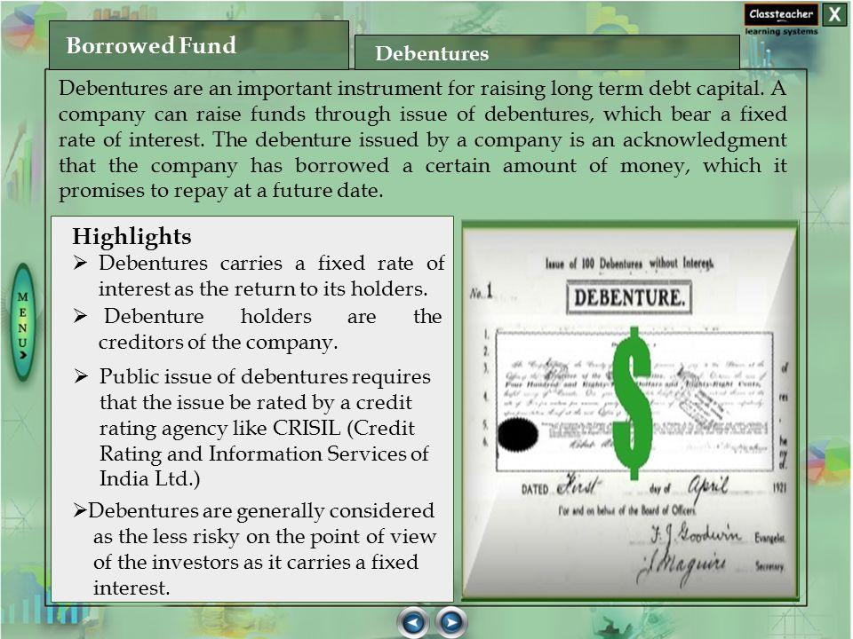 Borrowed Fund Highlights Debentures
