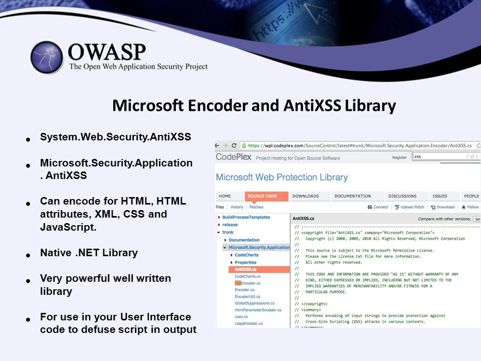 Microsoft Encoder and AntiXSS Library