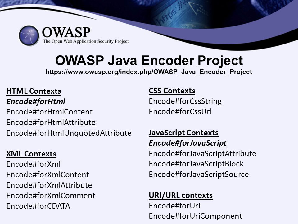 OWASP Java Encoder Project https://www. owasp. org/index