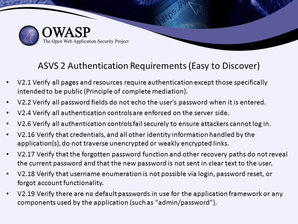 ASVS 2 Authentication Requirements (Easy to Discover)