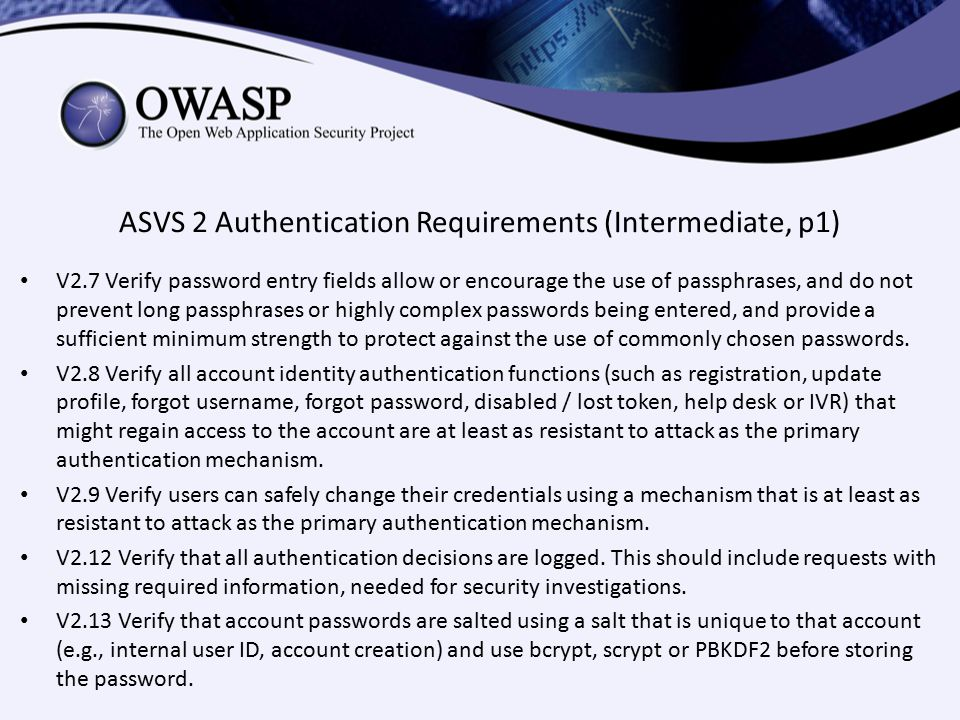 ASVS 2 Authentication Requirements (Intermediate, p1)