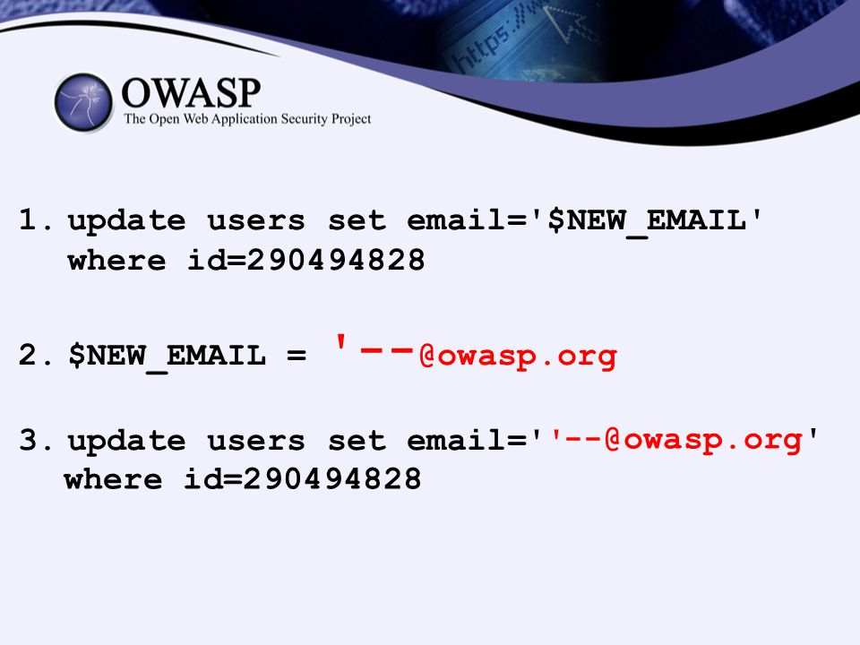 update users set email= $NEW_EMAIL where id=290494828