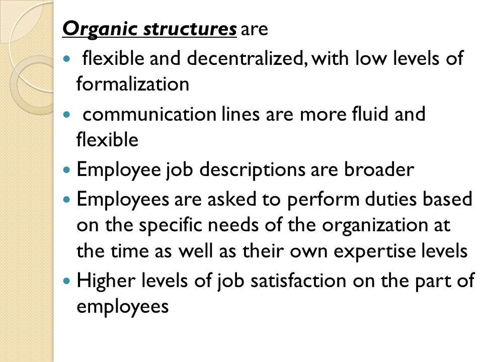 Organic structures are