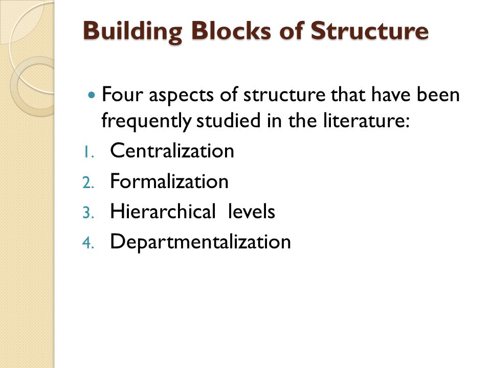 Building Blocks of Structure