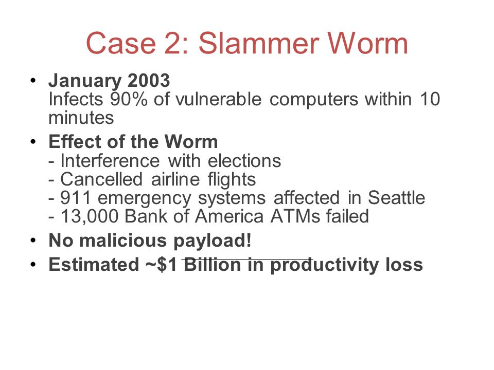 Case 2: Slammer Worm January 2003 Infects 90% of vulnerable computers within 10 minutes.
