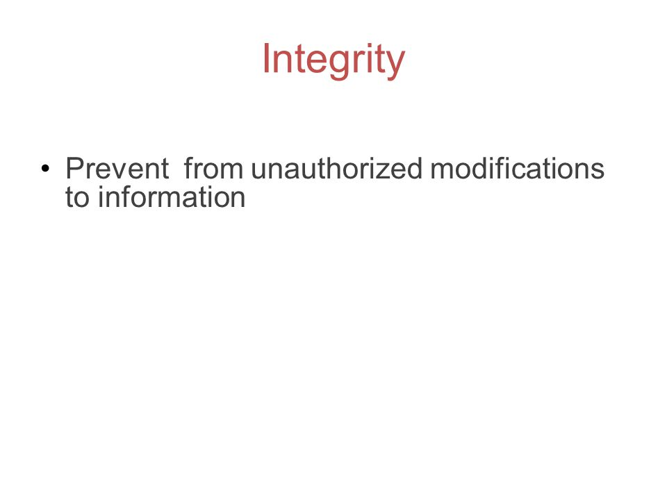 Integrity Prevent from unauthorized modifications to information