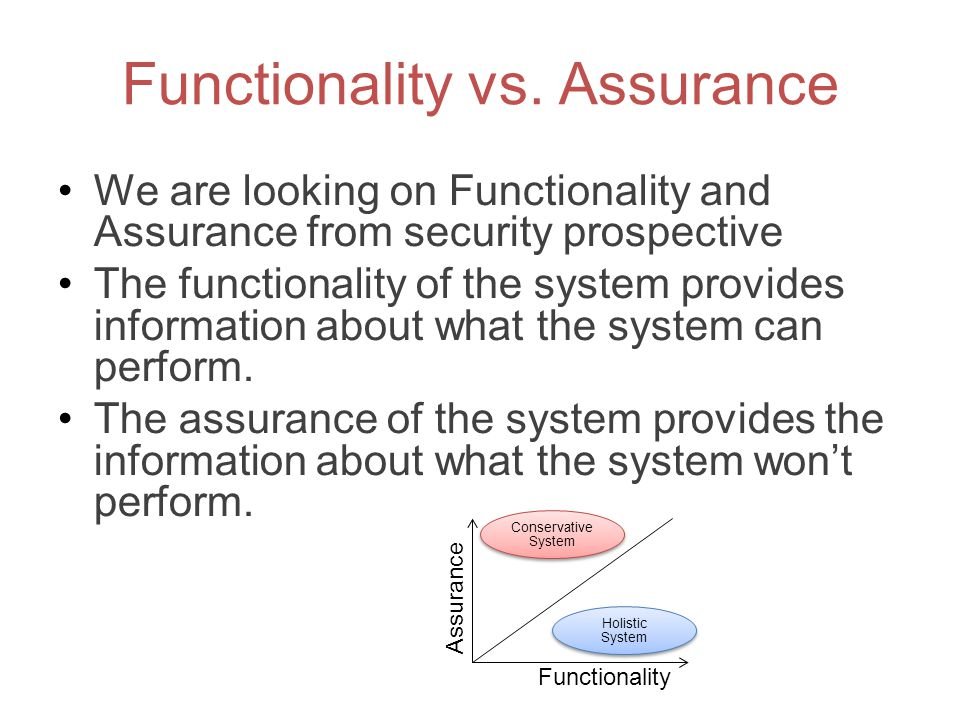 Functionality vs. Assurance
