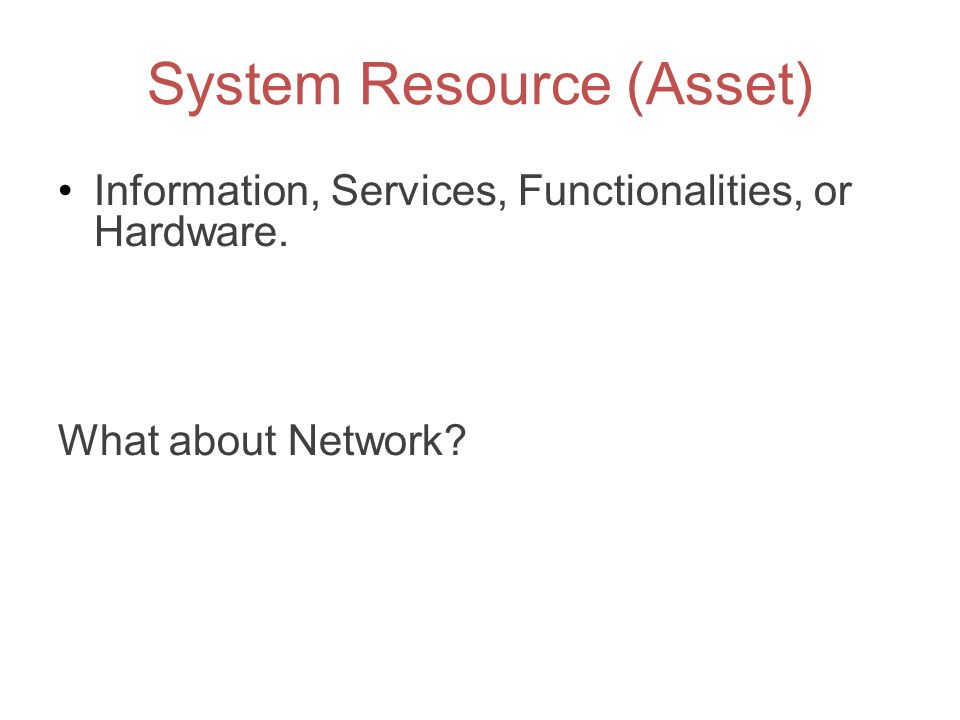 System Resource (Asset)