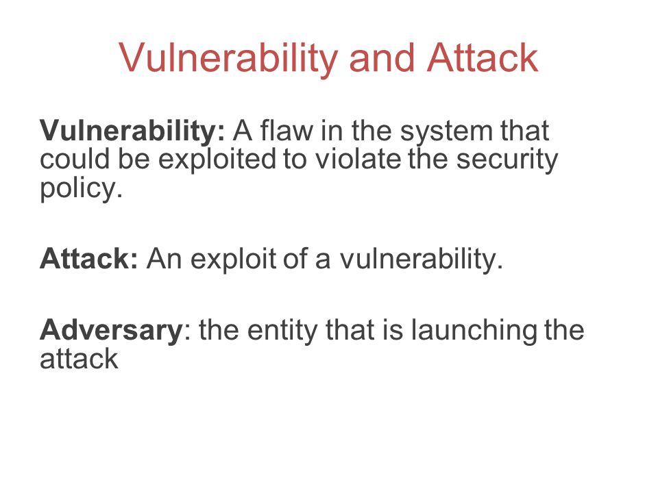 Vulnerability and Attack