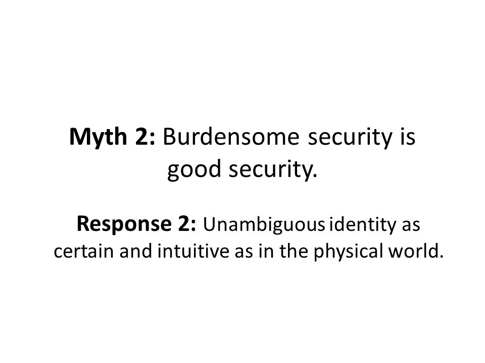 Myth 2: Burdensome security is good security.