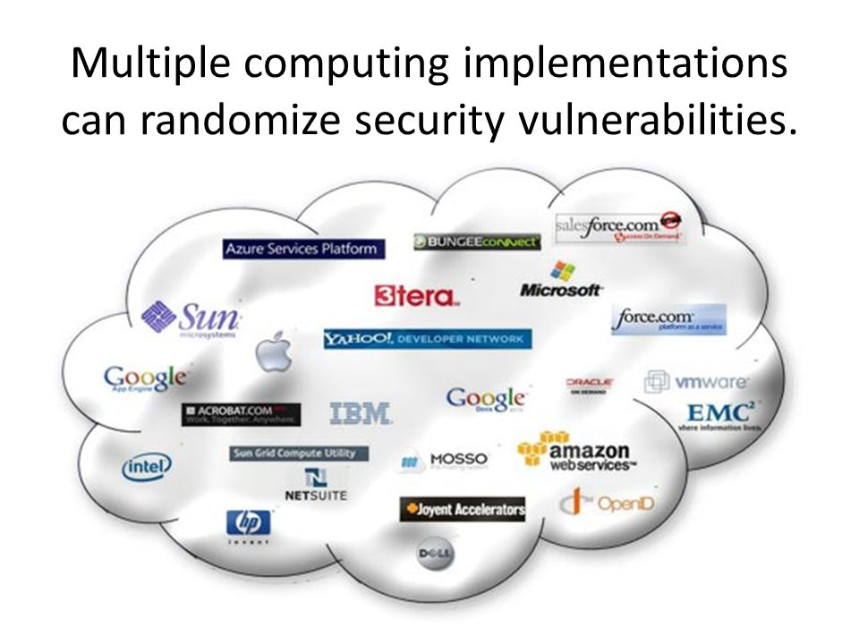 Multiple computing implementations can randomize security vulnerabilities.