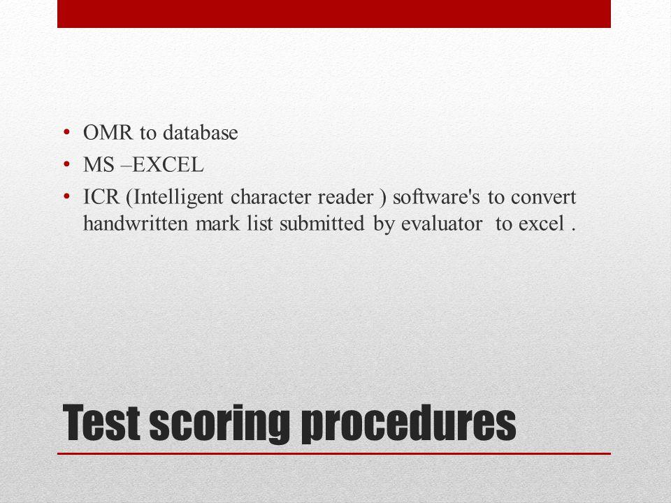 Test scoring procedures