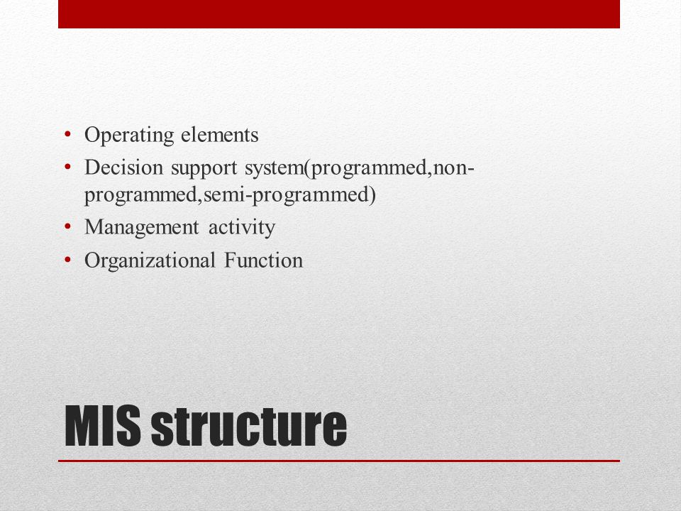 MIS structure Operating elements