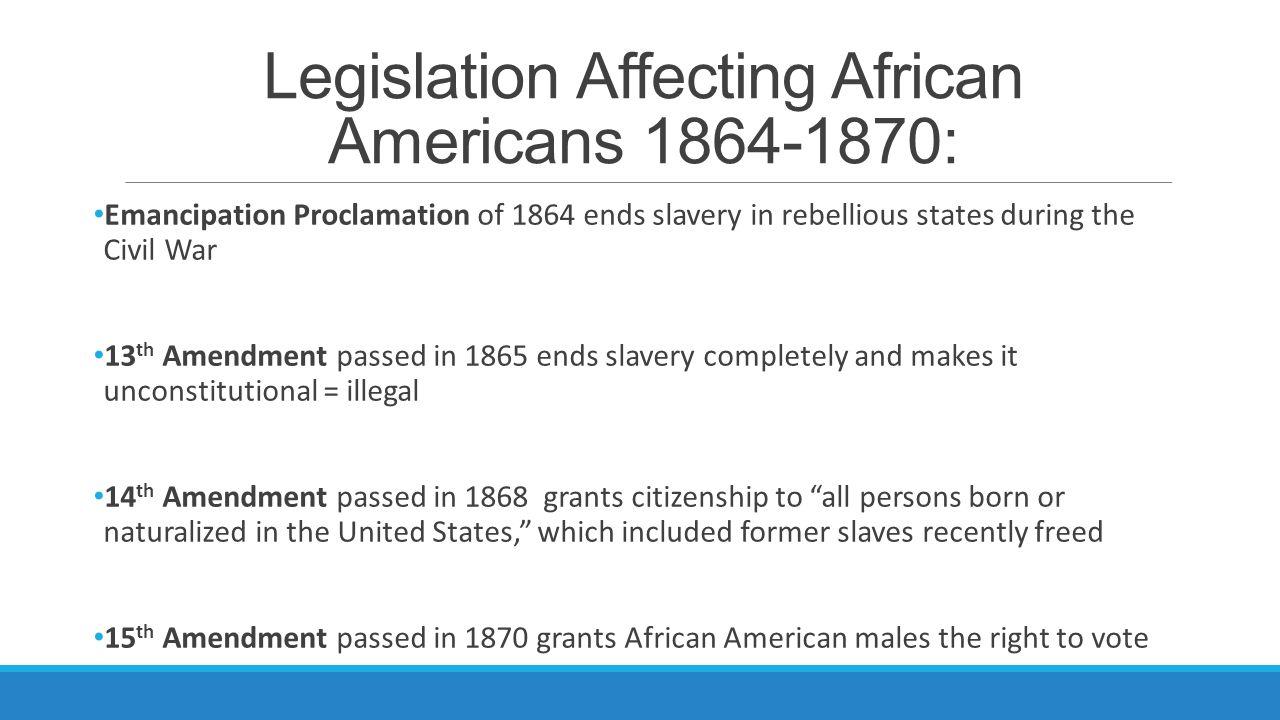 Legislation Affecting African Americans 1864-1870: