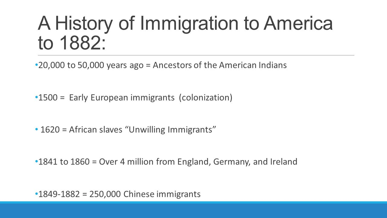 A History of Immigration to America to 1882: