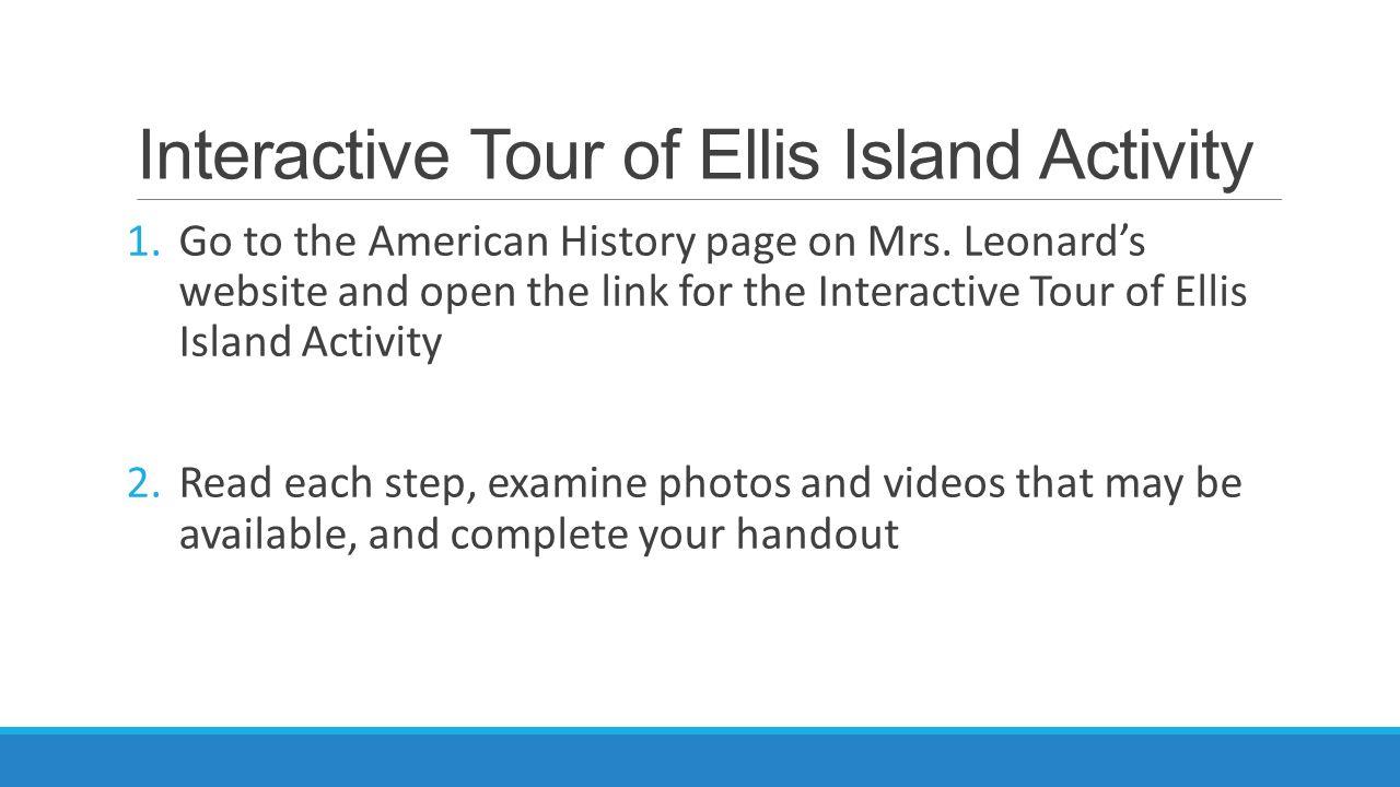 Interactive Tour of Ellis Island Activity