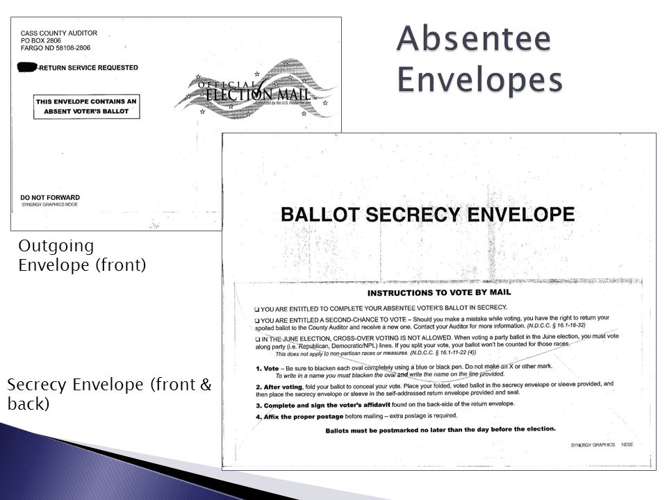 Absentee Envelopes Outgoing Envelope (front)