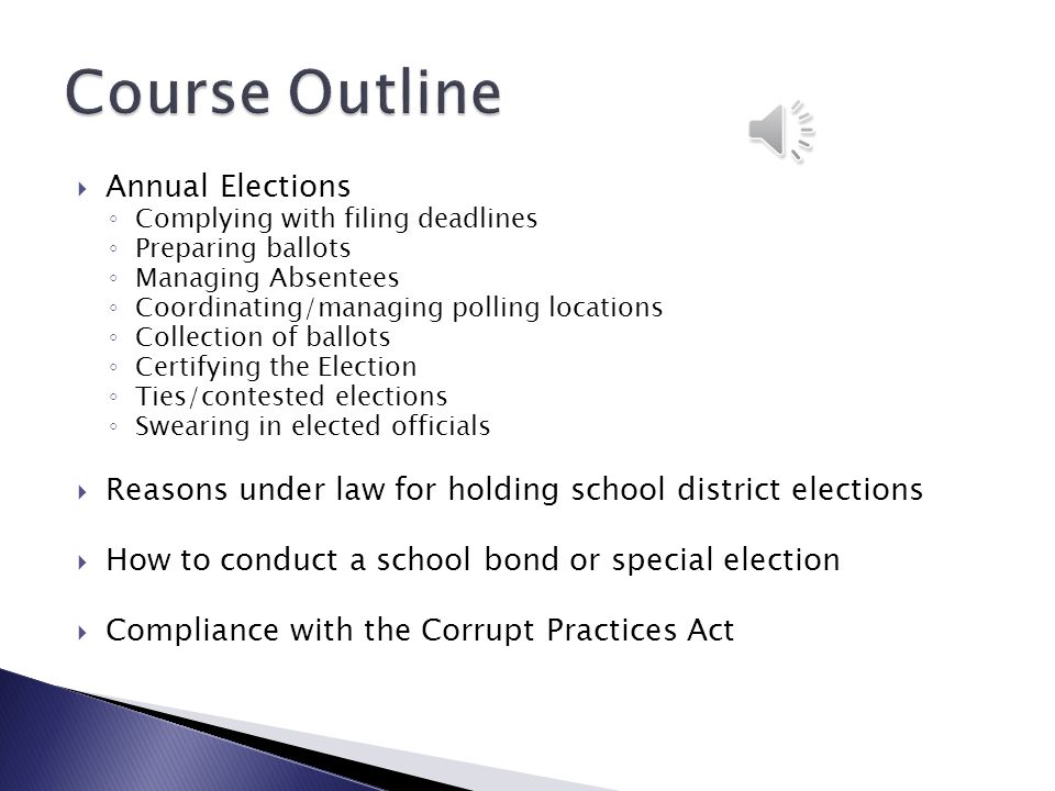 Course Outline Annual Elections