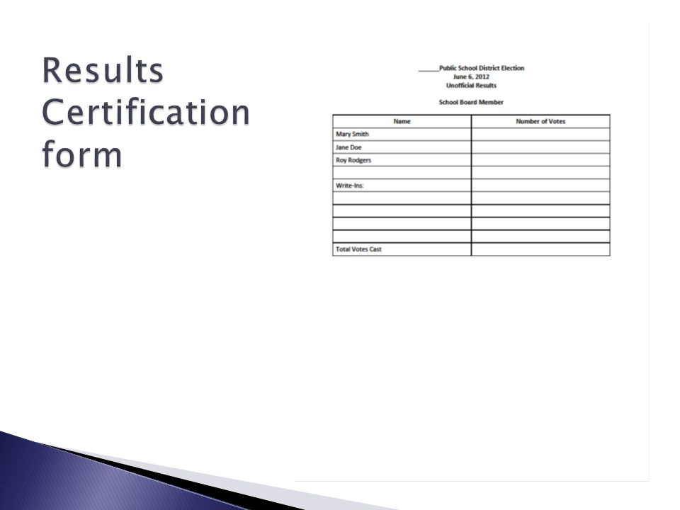 Results Certification form