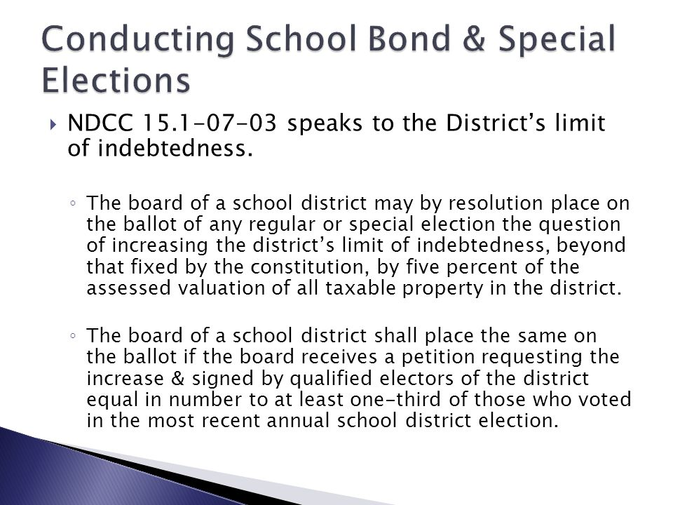 Conducting School Bond & Special Elections