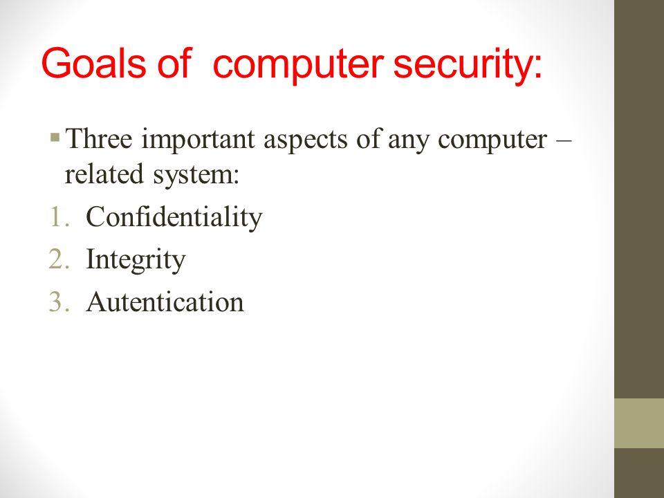 Goals of computer security:
