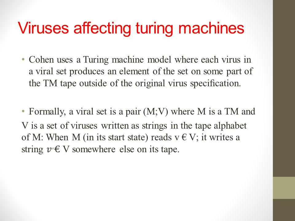 Viruses affecting turing machines