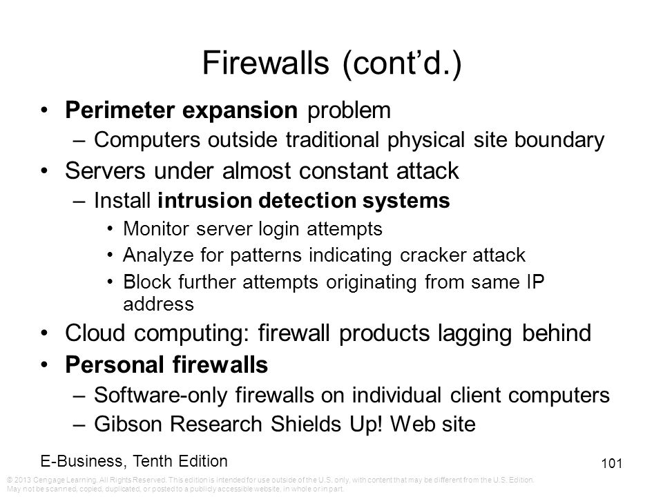 Firewalls (cont'd.) Perimeter expansion problem