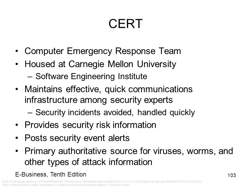 CERT Computer Emergency Response Team