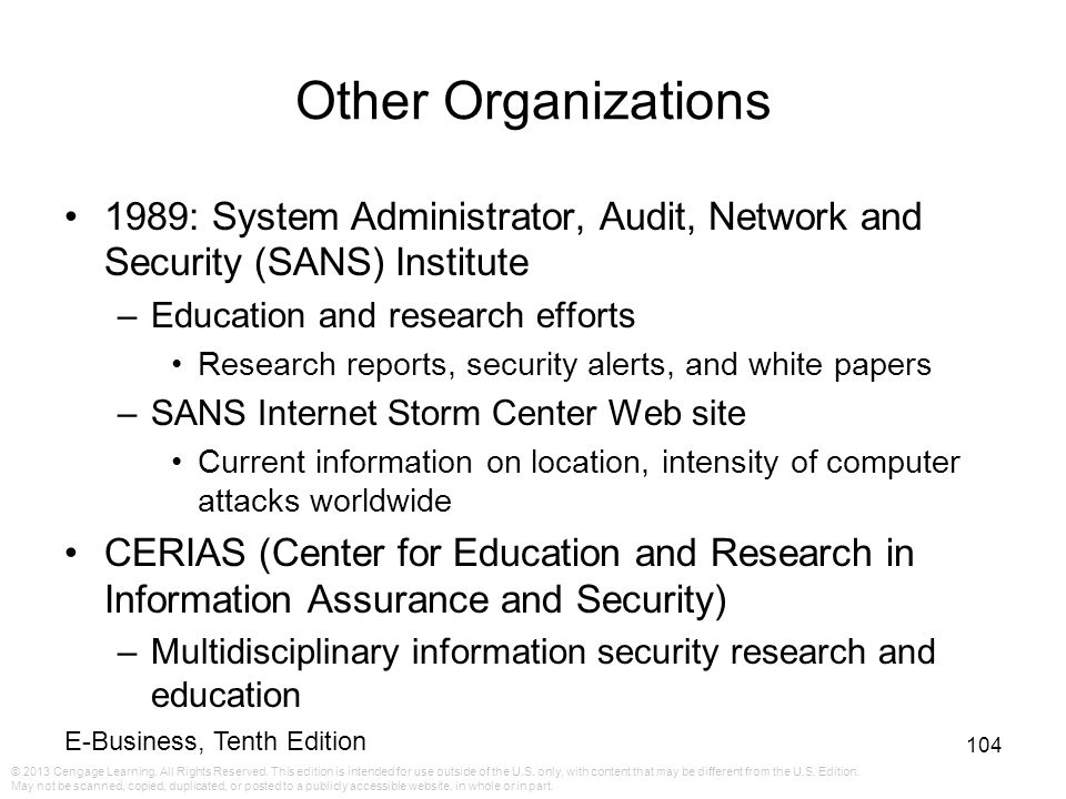 Other Organizations 1989: System Administrator, Audit, Network and Security (SANS) Institute. Education and research efforts.