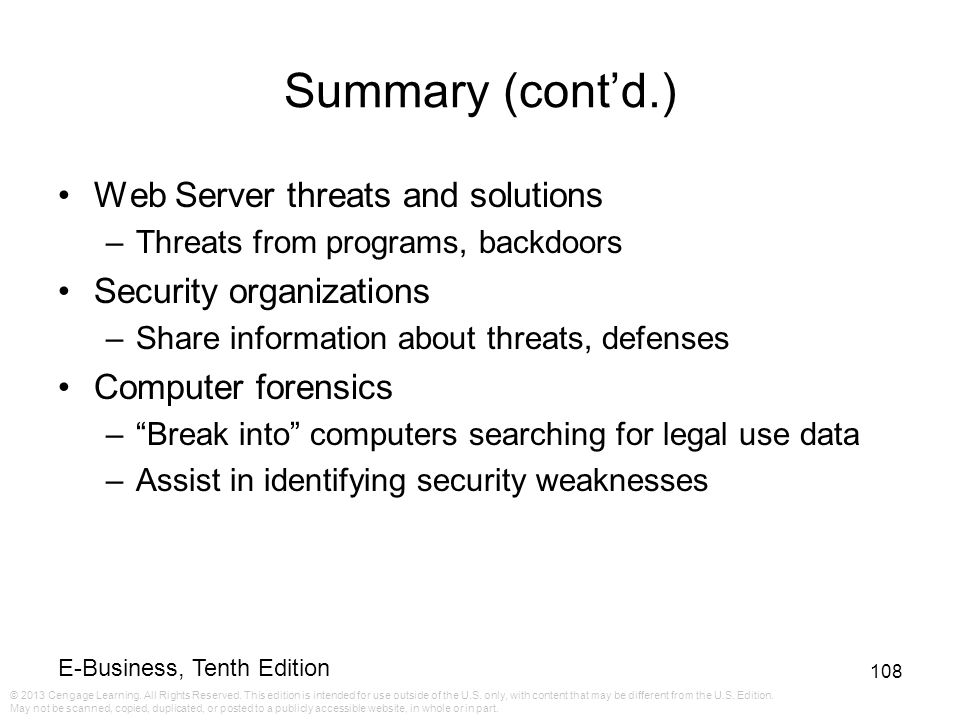 Summary (cont'd.) Web Server threats and solutions