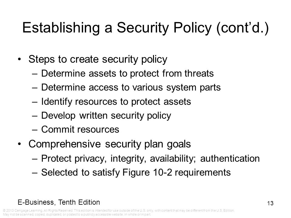 Establishing a Security Policy (cont'd.)
