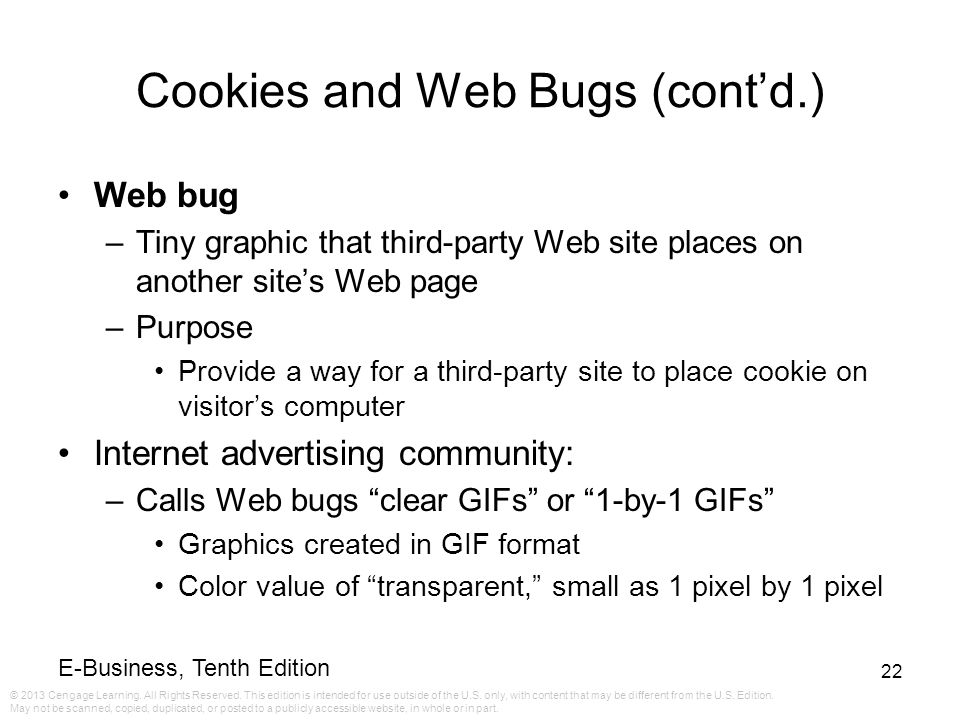 Cookies and Web Bugs (cont'd.)