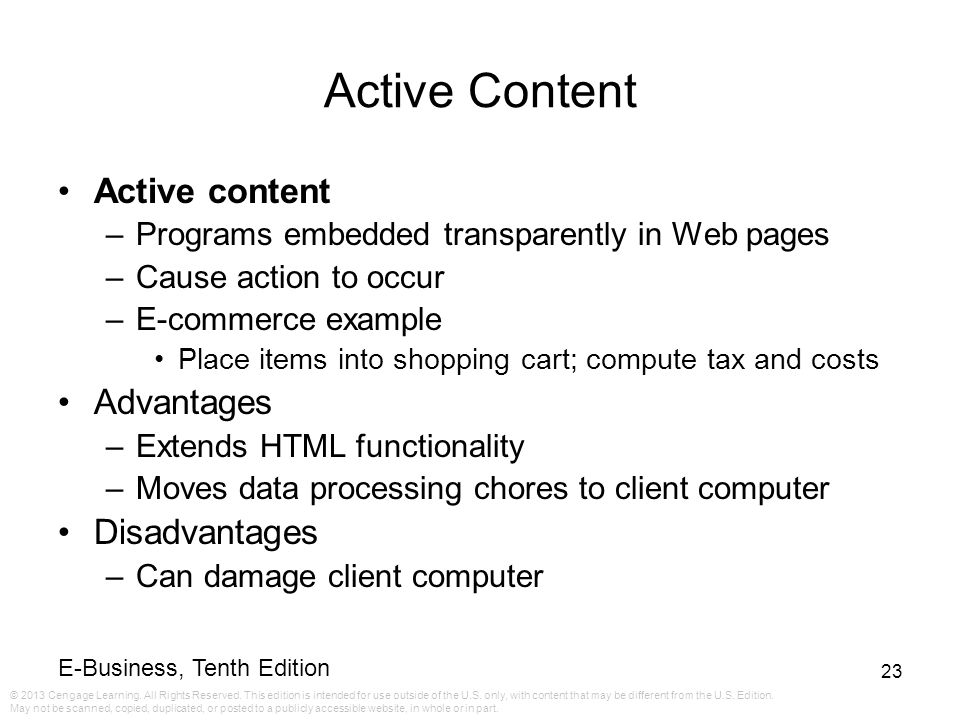 Active Content Active content Advantages Disadvantages