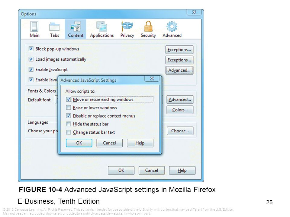 FIGURE 10-4 Advanced JavaScript settings in Mozilla Firefox