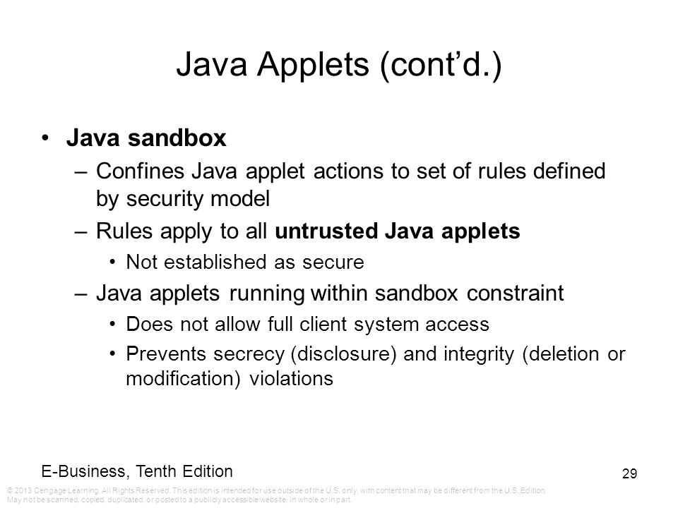 Java Applets (cont'd.) Java sandbox