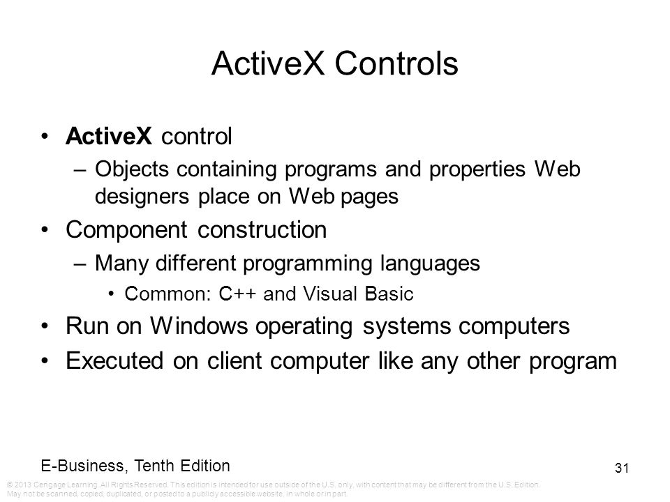 ActiveX Controls ActiveX control Component construction