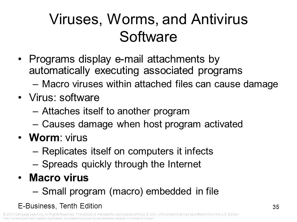 Viruses, Worms, and Antivirus Software
