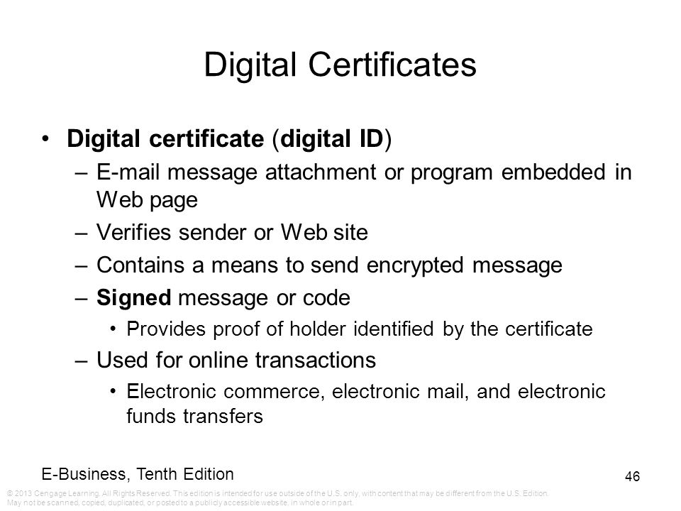 Digital Certificates Digital certificate (digital ID)