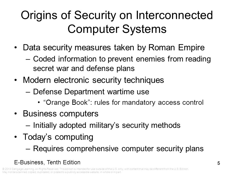 Origins of Security on Interconnected Computer Systems