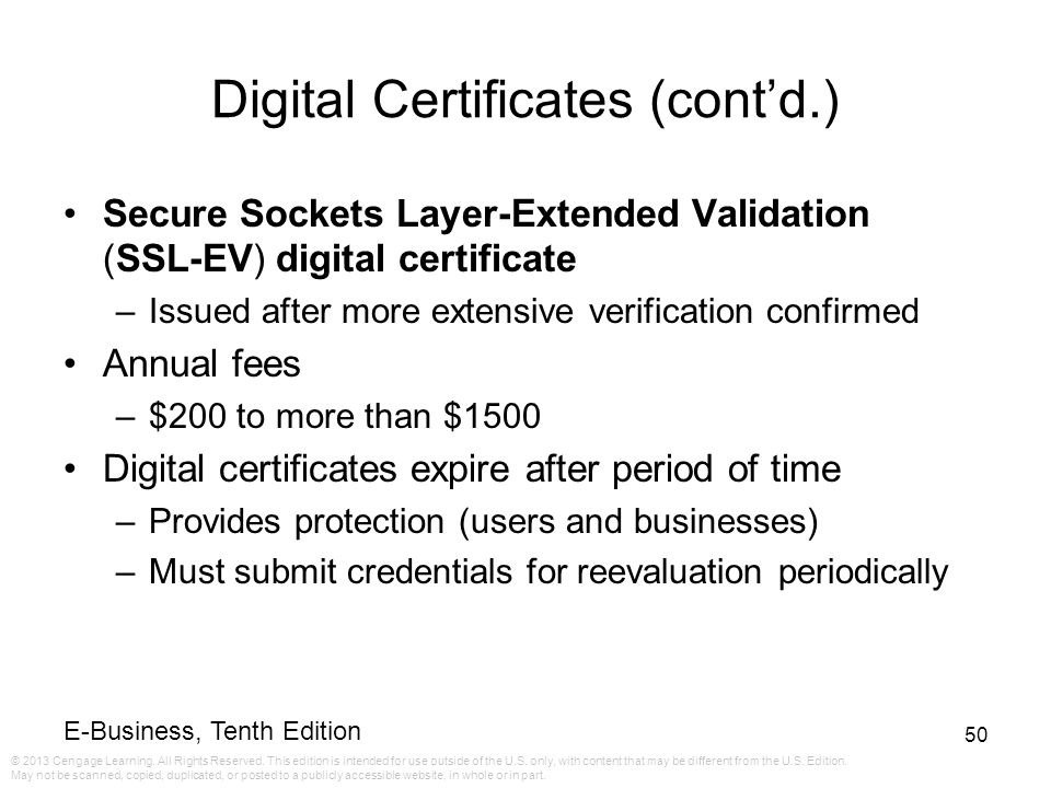 Digital Certificates (cont'd.)