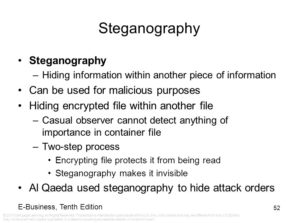Steganography Steganography Can be used for malicious purposes